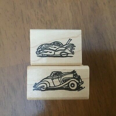 Vintage Automobile Lot of Roadster Classic Cars Flames Masculine Rubber Stamps