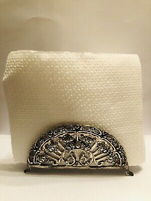 Sterling Silver napkin holder Decorated with flowers 104 Grams