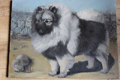 "Painting 24"" x 18"" of Keeshond Dog on Canvas"