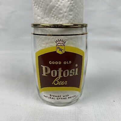 VINTAGE POTOSI BEER BREWING CO 1852-1952 Centennial GLASS GOLD TRIM Wisconsin
