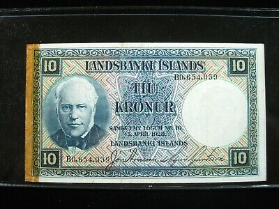 ICELAND 10 KRONUR L 1928 P28a ISLANDS TAPE 59# BANK CURRENCY BANKNOTE MONEY