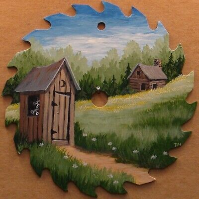 Hand Painted Saw Blade Log Cabin Outhouse Raccoons Lodge Farm Hunting Decor