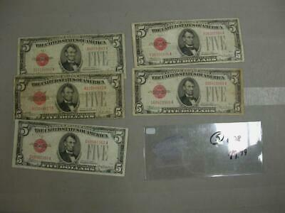 Five Dollar Red Seal Lot With (5 1928  $5 Notes)   -M549
