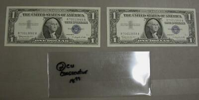 2 Silver Certificate In CU Condition W/ Consecutive Serial Numbers  -M553