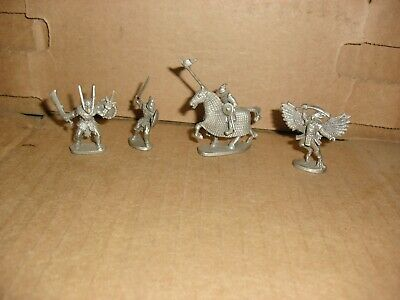 Lot of 4 Partha Pewter Figures PP663 knight/horse, PP886, PP240 1988, PP725 1987