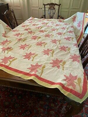Vintage Pink Lily PIECED and APPLIQUE Quilt Top Cottage 72 x 80