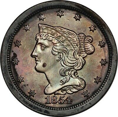1854 Braided Hair Half Cent BU Uncirculated Details - Full Luster, Nice Color!