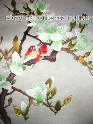 Chinese 100%hand embroidered silk suzhou embroidery art:magnolia flower birds