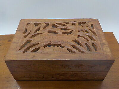 """Vintage Hand Carved solid Wood Box w/ Deer Stag Floral Lined 6"""" x 4"""" Small Nails"""