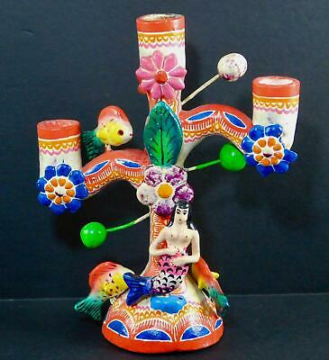 Mexican Folk Art Tree of Life Mermaid Candelabra Pottery Hand-Painted