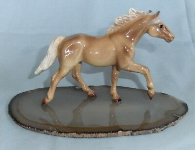 Lovely Palomino Horse Figurine Running On A Slab Of Stone  Hagen Renaker ???