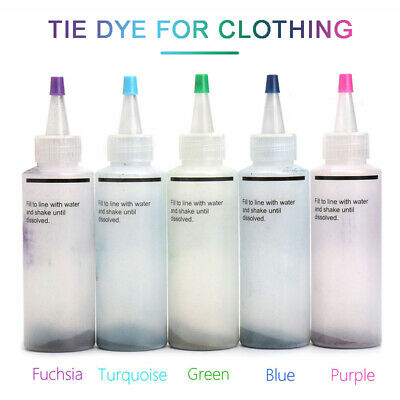 5 Colors One Step Tie Dyes Kits DIY Fabric Textile Paint Dyes Cold Water UK