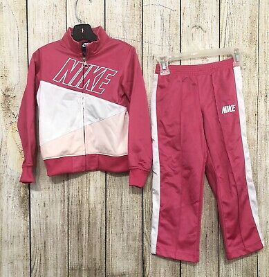Nike Toddler Girls Tracksuit Size 4T 2 Piece Jacket and Pants Pink White