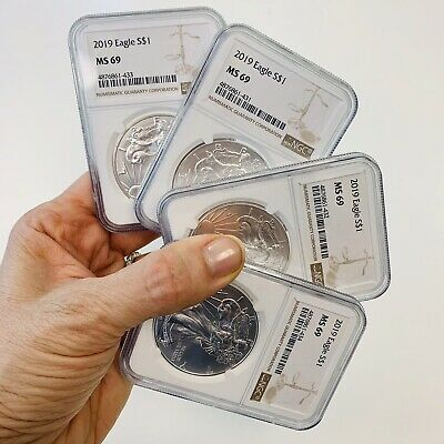 2019 American Silver Eagle 4-Certified COINS~NGC MS69~ASE~GradedStacking Bullion