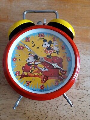 Vintage Old Mickey Mouse Red Yellow Bell Mechanical Wind Up Alarm Clock