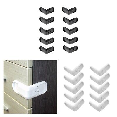 20 Pieces Right Angles Baby Safety Locks No Drill for Cabinet Cupboard Oven