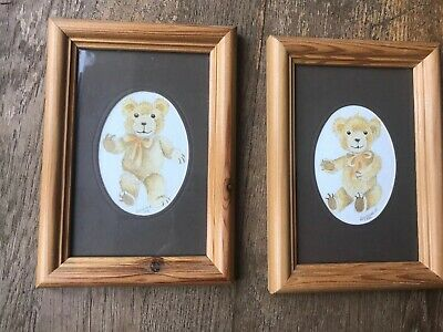 2 Teddy Pictures For Nursery Or Childs Room (5x7 Inches)