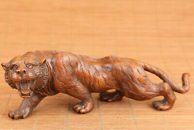 chinese old boxwood hand carved tiger statue netsuke collectable table deco