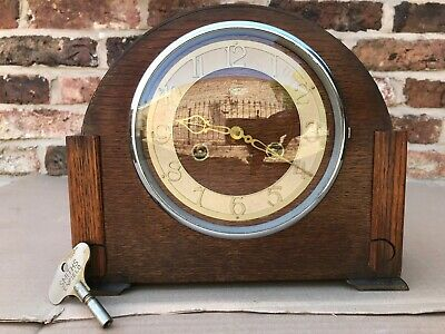 Smiths Enfield Striking Mantle Clock With Original Key
