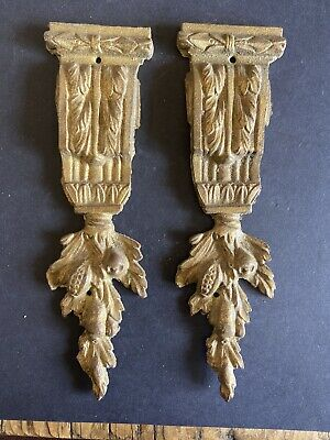 Pair Of Antique Gilded Brass Pier Cabinet Mounts Not Repro