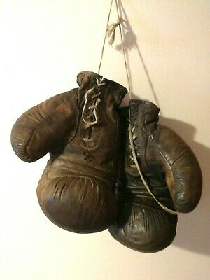 Boxing USSR rarity sport Boxing gloves 1950s Russian Vintage Soviet sport brown