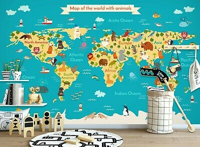 Details about  /3D Black Office KER307 World Map Wallpaper Mural Removable Self-adhesive Kay