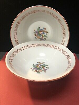 2 Oriental Bowls With Colorful Birds (Z10)