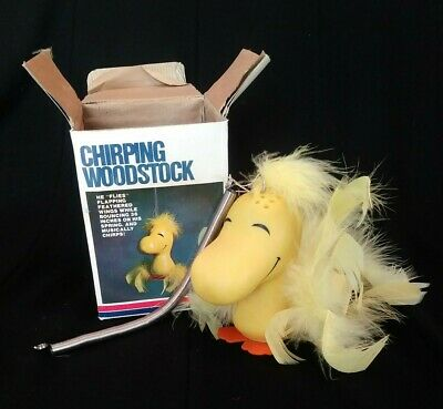 Vintage 1965 Chirping Woodstock In Box Snoopy Charlie Brown Peanuts WORKS!
