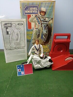 Vintage 70s Ideal Evel Knievel Stunt Cycle 2nd Edition with Original Box