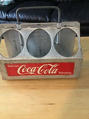 Vintage 1950s Aluminum 6 Pack Delicious Refreshing Coca-Cola Soda Bottle Carrier
