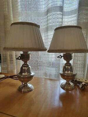 Coppia Lumi Lampade Abat Jour ARGENTO 800 Solid Sterling Silver gr 200