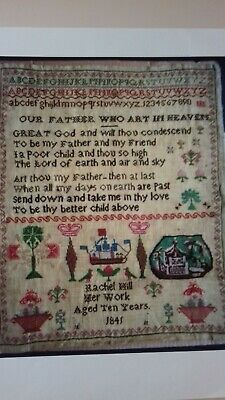 Antique Cross Stitch Sampler by Rachel Hill (aged 10) dated 1841