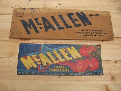 McAllen Texas Tomatoes Vegetable Crate Original Label and Crate Side