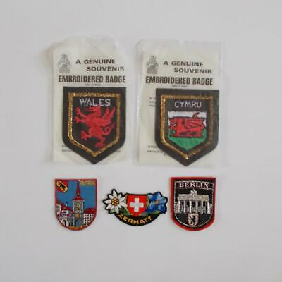 Souvenir Patch Lot Wales Switzerland Berlin 5 Vintage European Patches