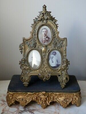 Antique French Ornate Gilt Gold Wood Clock Base Stand Ornamental Display