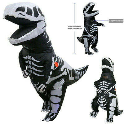 T-REX Dinosaur Inflatable Skeleton Costume Dino Fossil Adult Suit w/Battery Fan