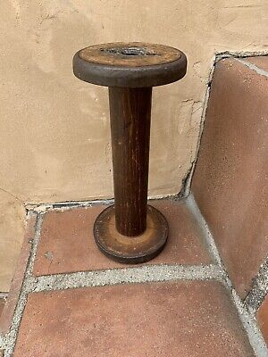 Antique Industrial Wooden Mill Spools Textile  Metal Finishing