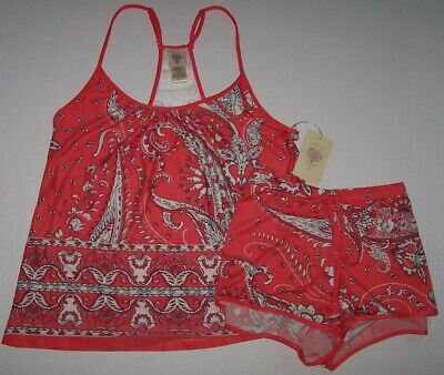 NWT In Bloom by Jonquil CORAL Peach/White/Black Slinky Knit Pajama SHORTS Set XL
