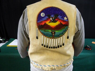 Native American Leather and Wool Beaded Vest