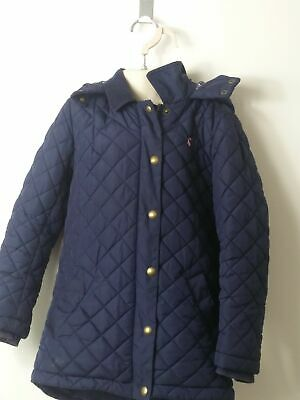 Girls Joules Blue Hooded Padded Quilted Coat Jacket Kids Age 7 -8 Years