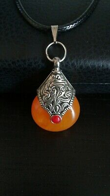 Collectable Handwork Old Miao Silver Mosaic Agate Delicate Noble Luck Pendant
