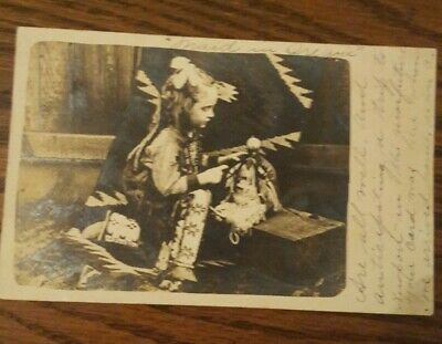 Antique Real Photo Postcard Little Girl Dressed Up Indian Maid 1906