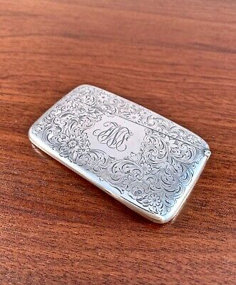 Gorham Sterling Silver Floral Etched Hinged Calling Card Case