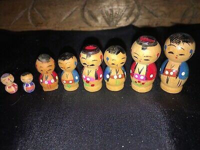 Vintage Miniature Kokeshi Traditional Japanese Crafts Wooden People Lot of 8