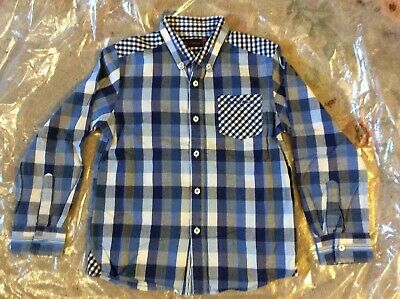 Ben Sherman Boys Cotton Blue Checked Long Sleeve Shirt Size 6-7 Years, Worn Once