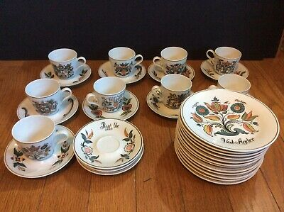 Porsgrund Norwegian China 12 plates 9 cups and 12 saucers Norsk Rosemaling
