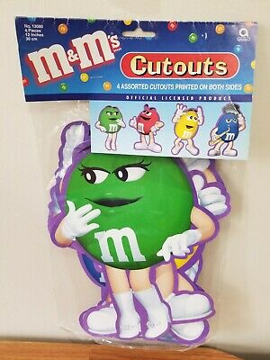 M&M's Cutouts of Red, Yellow, Blue, & Miss Green (NEW)