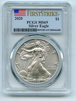 2020 $1 American Silver Eagle Dollar 1oz PCGS MS69 First Strike