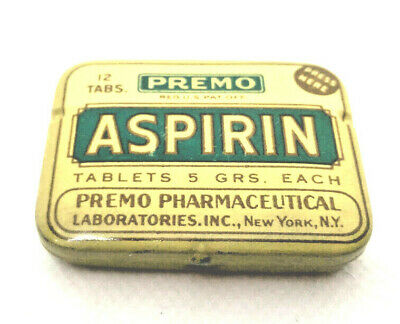 Vintage  medicine  tin,PREMO ASPIRIN , PREMO PHARMACEUTICAL .INC ., NEW,YORK,N.Y
