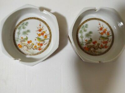 Lot 2  Vintage Ashtrays Made in Japan Oriental Birds
